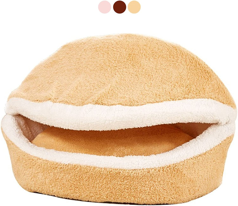 GabeFish Dog Detachable Shell Bed Cat Washable Windproof Hamburger Sleep House Puppy Pet DualPurpose Warm Nest Khaki Large