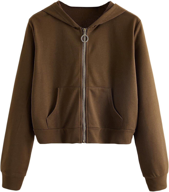 Verdusa Women's Casual Long Sleeve Zip Up Front Crop Hooded Sweatshirt