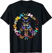Peace Sign Butterflies 60's Retro Gift World 70s Hippie T-Shirt