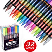 ZEYAR Acrylic Paint Pens, Water based, Extra Fine Point, 32 vibrant colors, Opaque Ink, Paint Markers for Glass, Rock, Paper, Ceramic, Plastic and Non porous surfaces