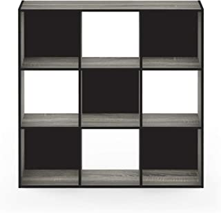 Furinno Pelli Cubic Storage Cabinet, 3x3, French Oak Grey/Black