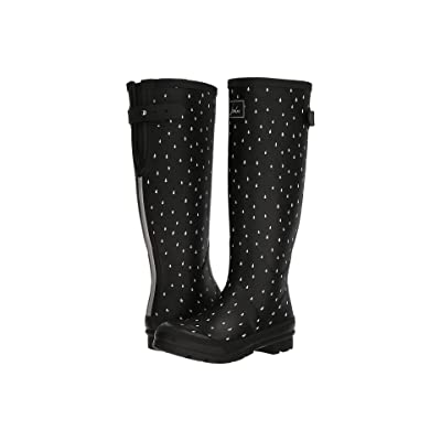 Joules Tall Welly Print (Black Raindrops Rubber) Women