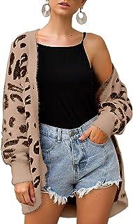 Women Fashion Leopard Print Button Down Long Sleeve Soft...