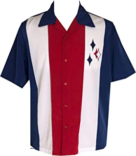 Men's USA Bowling Shirt, Patriotic Button up Camp Shirt, red White and Blue Retro Bowling Shirt American Flag Style T-Shirt