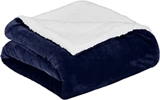 AmazonBasics Soft Micromink Sherpa Throw Blanket – Full or Queen, Navy Blue
