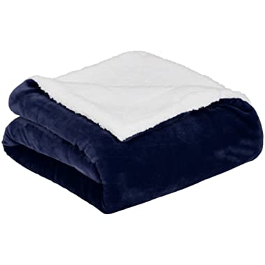 AmazonBasics Soft Micromink Sherpa Throw Blanket - King, Navy Blue