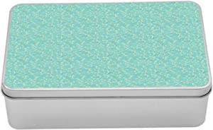 """Lunarable Botanical Tin Box, Swirled Autumn Bush Twigs with Doodled Leaves, Portable Rectangle Metal Organizer Storage Box with Lid, 7.2"""" X 4.7"""" X 2.2"""", Yellow Green Seafoam and Sage Green"""