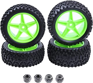 Hobbypark 4pcs Front & Rear Rubber Tires & Wheel Rims Sets for RC Redcat 1/10 Off Road Buggy Shockwave Nitro Tornado S30 EPX HSP Backwash Warhead Exceed Replacement