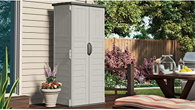 Suncast Vertical Tool Shed - Outdoor Storage Shed for Backyards and Patios - 20 Cubic Feet Capacity for Long Handled Tools and Garden Accessories