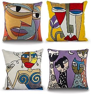 Topfinel Lot de 4 Housse Coussin Picasso 45x45cm Vintage Brodé Motif Abstrait en Coton-Lin Housses de Coussins Decoratifs ...