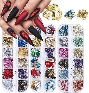 3 dozen 3D Nail Art Glitter pailletten, Kalolary Sparkle Laser kleurrijke nagel pailletten acryl paillettes, holografische...