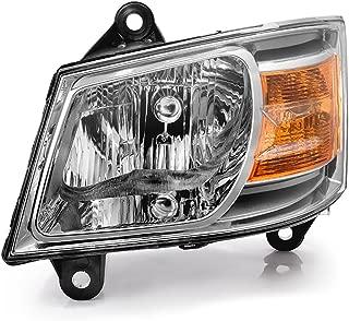 VIPMOTOZ Chrome Housing OE-Style Headlight Headlamp Assembly For 2008-2010 Dodge Grand Caravan, Driver Side