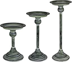 Stratton Home Decor S36884 Candle Holders, 4.25 X 4.25 X 12.00, Distressed Green
