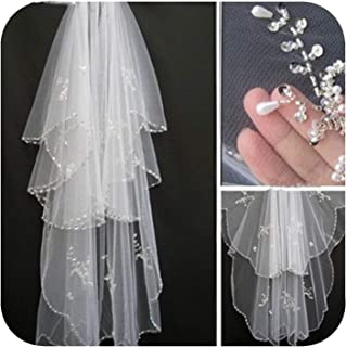 Bridal Veils Edge Crystal Beaded Wedding Veil Cathedral Wedding Veil,White