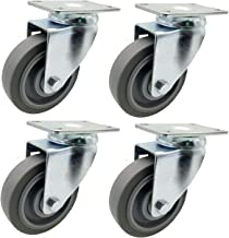 Dr.Luck 4-Inch Gray PU Rubber Double Ball Bearing Swivel Caster Wheel Without Brake, Heavy Duty Total Capacity 1120 Lbs - 280 Lbs per Caster, Pack of 4