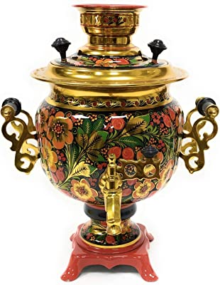 """Russian samovar Tula electric kettle""""Khokhloma oval"""" hand-painted 101,44 fl oz(3 liters).Made in Russia."""