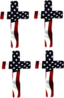 Rogue River Tactical Pack of 4 Red White Blue Cross Decal Sticker American Flag USA Large Inch Patriotic Decal Auto Bumper Sticker Vinyl Car Truck RV SUV Boat Window