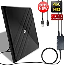 [2019 Upgraded] Amplified HD Digital TV Antenna - Best 120 Miles Range Indoor Antenna TV Digital HD Amplifier Signal Booster, Support All TV's 4K/VHF/UHF/1080P Free Local Channels, 16.4Ft Coax Cable