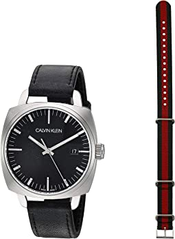 Stainless Steel/Black PVD/Black Leather Strap
