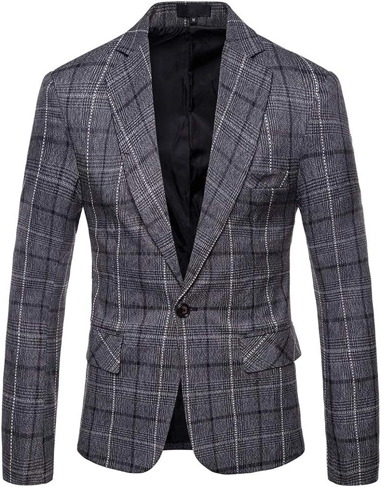 Mens Dress Plaids Suit Notched Lapel One Button Stylish Casual Blazer Jacket