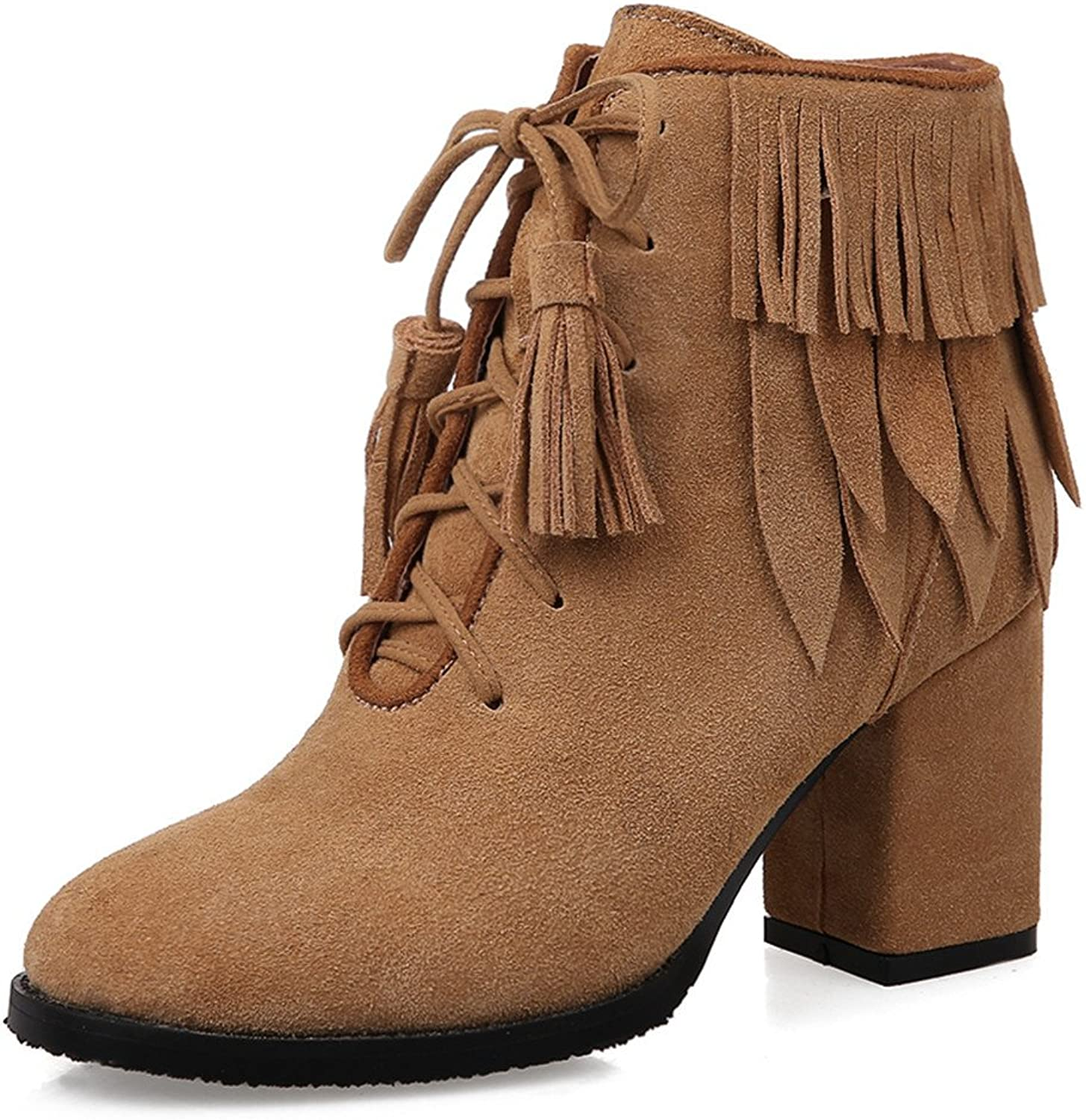 Nine Seven Suede Leather Women's Round Toe Chunky Heel Lace Up Tassel Handmade Ankle Bootie