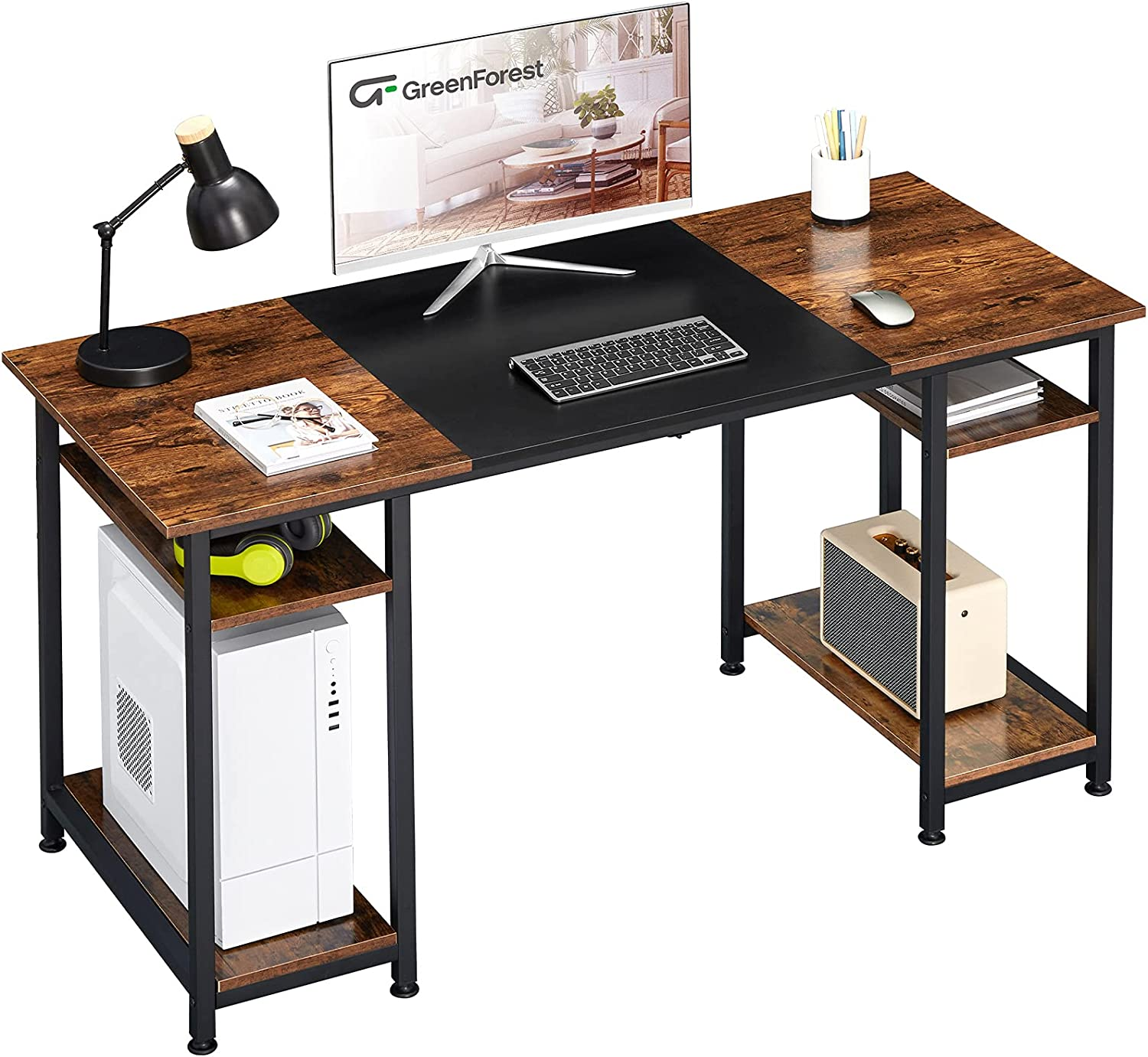 GreenForest Computer Desk SEAL limited product 70% OFF Outlet 55 inch Moder Shelves Office with