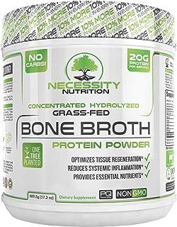 Bone Broth + Collagen Protein Powder - Natural & Pure | Paleo & Keto Friendly | Gluten Free, Low Carb & Non GMO Grass Fed Pasture Raised Bovine, Premium Gut Health
