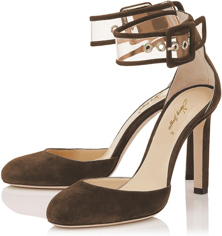 NJ Women Round Toe High Heel D'Orsay Pumps Transparent Ankle Strap Sandals Dress Buckle shoes
