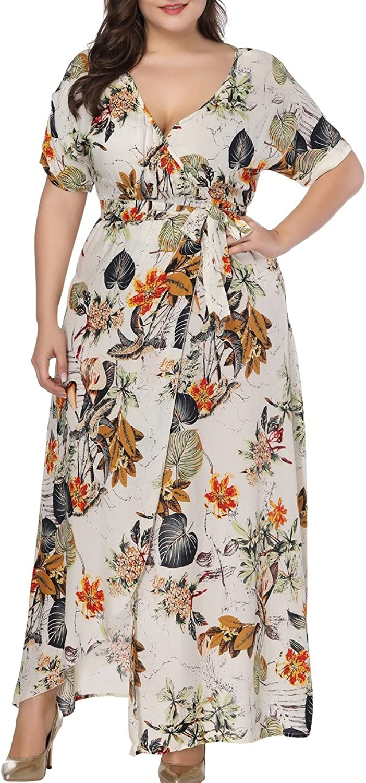 Dora Bridal Plus Size Women Maxi Dress Sleeves VNeck Long Floral Print Summer Dresses