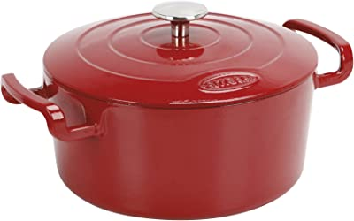 Sitram Sitra Bella Cast Iron Dutch Oven, 5.3 Qt, Red Glossy