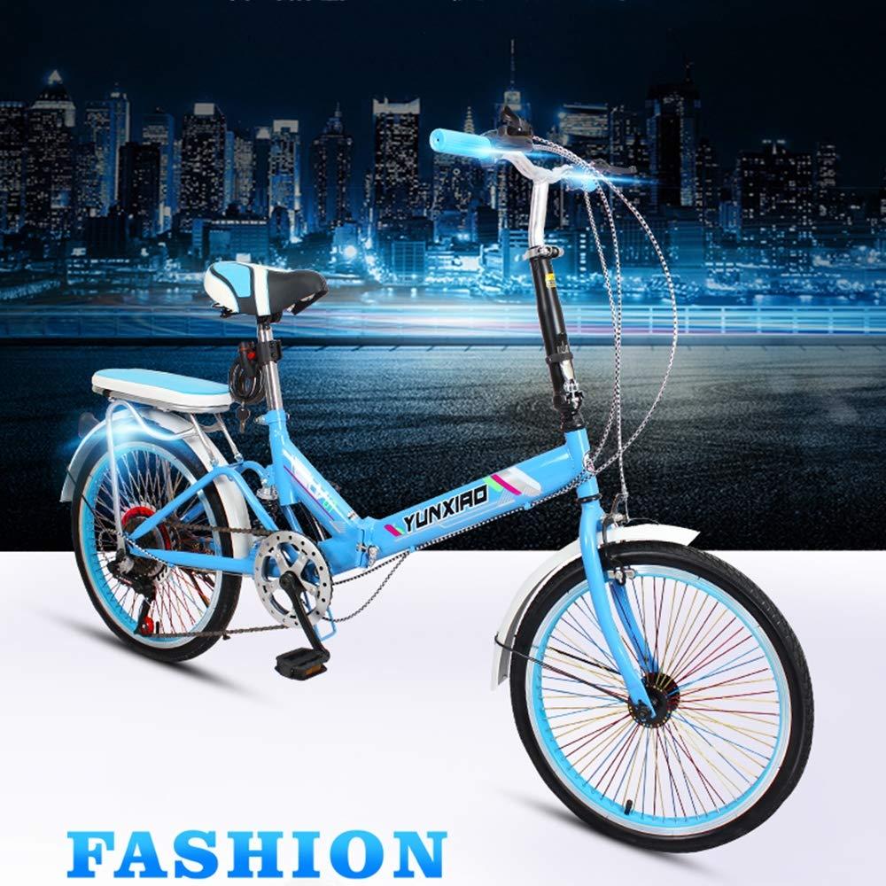 Saturey Bicicleta Ligera Plegable de 20 Pulgadas, Bicicleta Plegable de Bucle y Soporte de pie con una transmisión ...