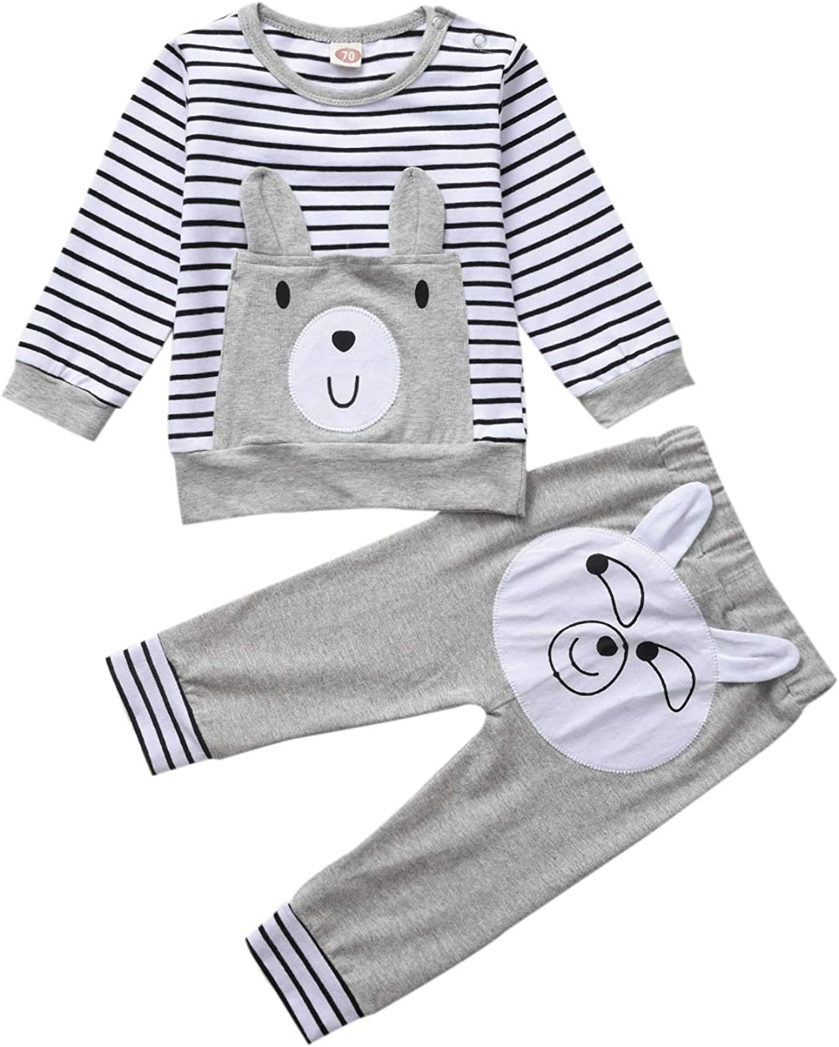 2 Pieces Long Sleeved Cute Toddler Baby Infant Outfits Set with Kids Tops and Pants Set