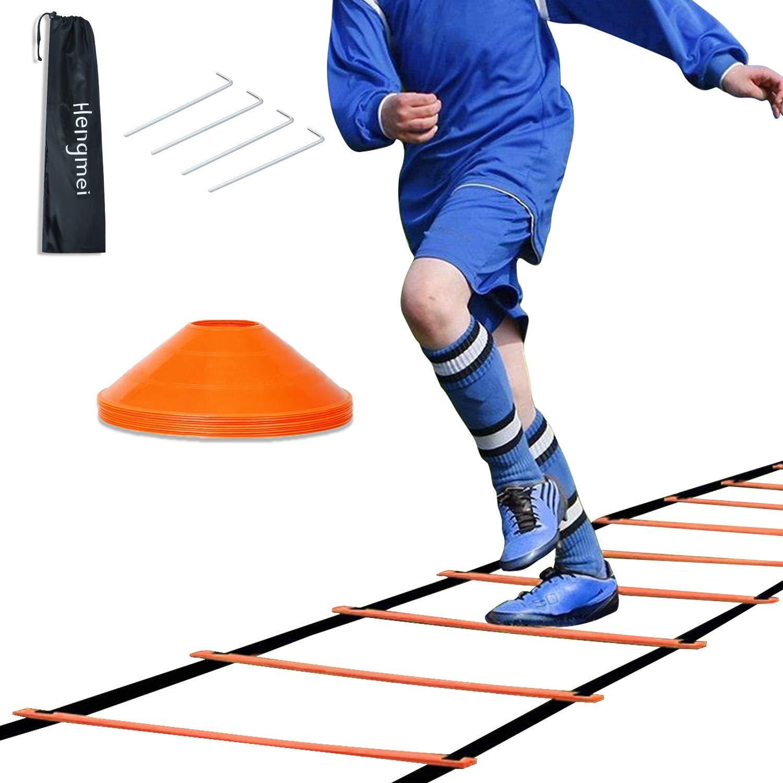 Hengmei - Escalera de coordinación (6 m, con bolsa de transporte y 10 conos deportivos): Amazon.es: Deportes y aire libre