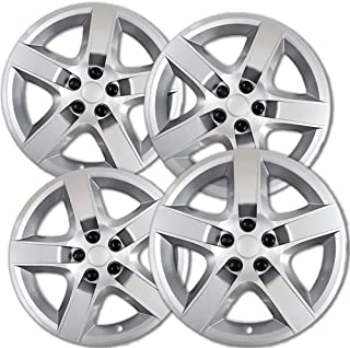 17 inch Hubcaps Best for 2008-2012 Chevrolet Malibu - (Set of 4) Wheel Covers 17in Hub Caps Silver Rim Cover - Car Accessories for 17 inch Wheels - Snap On Hubcap, Auto Tire Replacement Exterior Cap