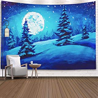 ROOLAYS Tapestry Wall Hanging, Home Art Décor Painting Fairy Winter Night Mountain Valley Full Moon Starry Sky with 80x60 Inches for Living Room Dorm Background Tapestries,White Blue