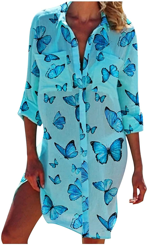 Women Button Down Shirts Long Sleeve Chiffon Butterfly Print V N