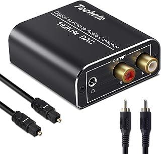 Techole DAC converter, aluminium 192 kHz digitale/Toslink naar analoge RCA L/R audio converter adapter met optische kabel, coaxkabel, USB-kabel voor PS3 PS4 Xbox HDTV Blu-ray Sky HD Apple TV