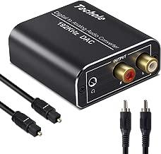 Óptico a RCA, Techole 192KHz Convertidor Digital a Analógico, Óptico Coaxial (RCA) Toslink SPDIF a Audio Estéreo RCA L/R y Jack 3.5mm con Cable Óptico y Cable USB DC/5V paraPS3, PS4, Xbox, HDTV, DVD