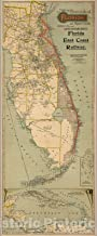 Historic Map - Map of the Peninsula of Florida and Adjacent Islands, 1896 - Vintage Wall Art - 10in x 24in