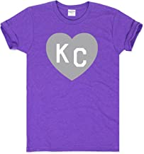 Charlie Hustle Unisex Purple Grey KC Heart T-Shirt