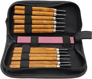 Gytech cuchillos para tallar madera 12 en 1 juego de cinceles de madera con estuche profesional para principiantes