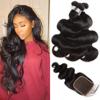 Peruvian Body Wave Bundles with Closure 9A Virgin Hair 3 Bundles with Closure Free Part Peruvian Human Hair Extensions with Lace Closure Natural Color Mix Length (14