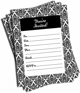 black white invitations birthday