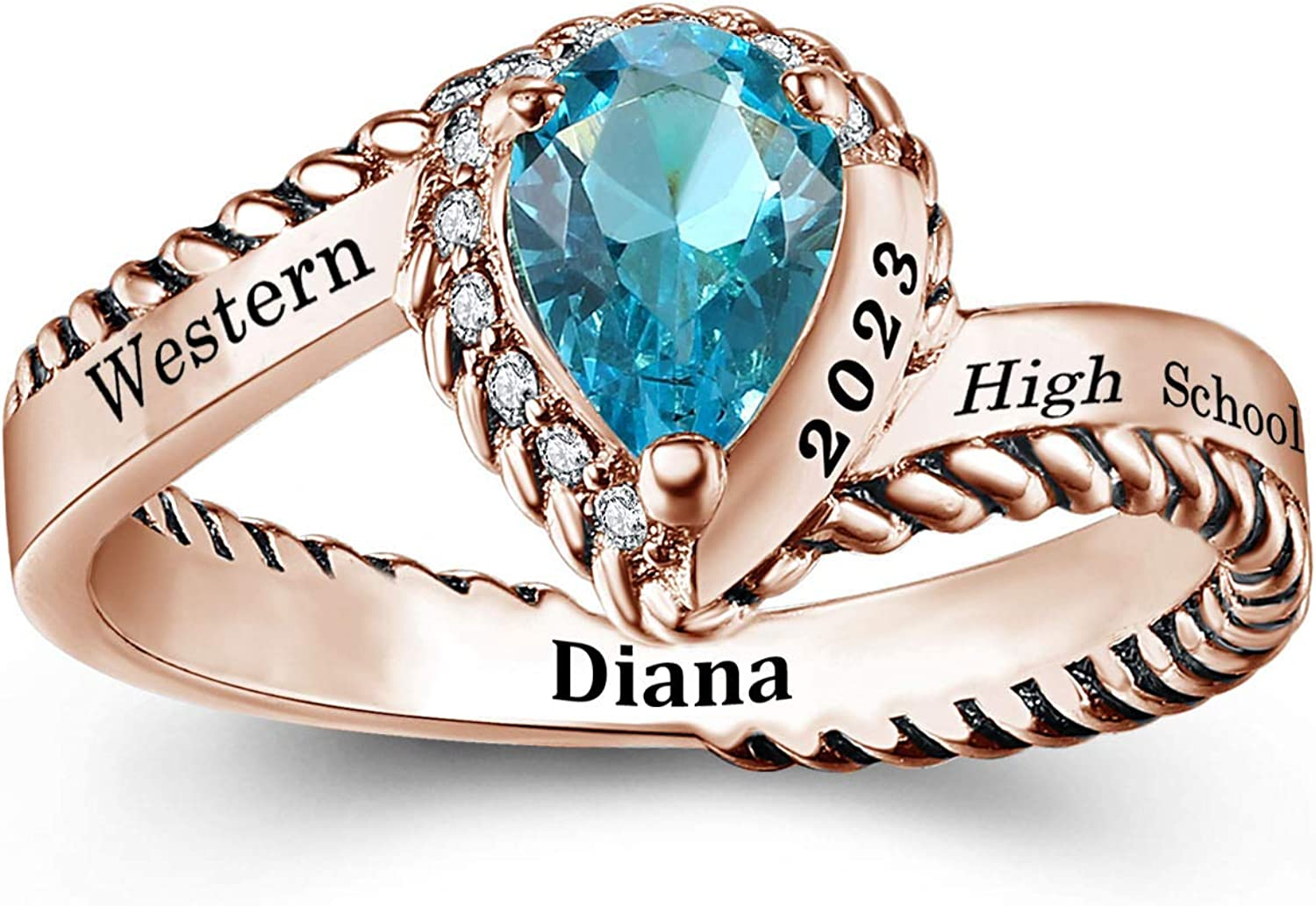 Customized Sterling List price Minneapolis Mall Silver Women's High à Class Ring School