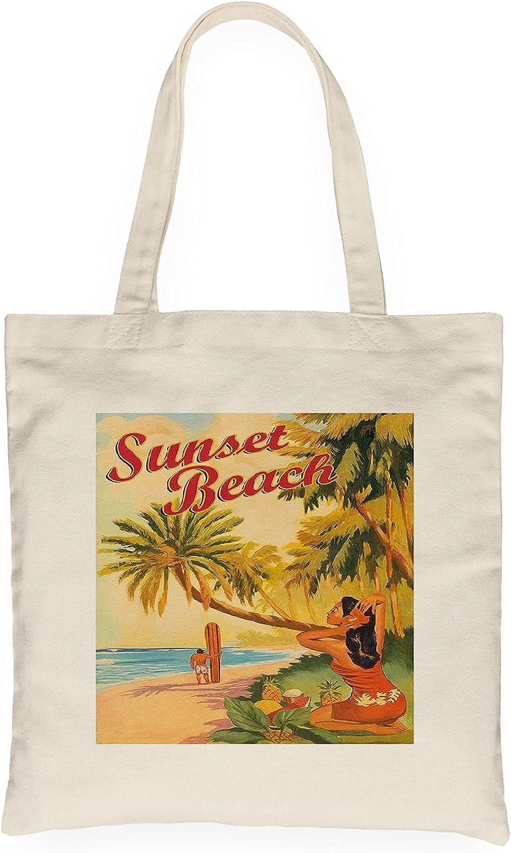 Sunset Beach Hawaii - Oahu North Shore - Surfer - Vintage Hawaiian Travel, Canvas Tote - Bag, Meaningful Gift