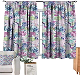 NatureSolid Rod Pocket short Blackout DrapesAbstract Bedding Plants in Lively Colors Garden Rural Summer Field in Country ThemeBlackout Curtain Panels Window Draperies Rod Pocket Multicolor. W63