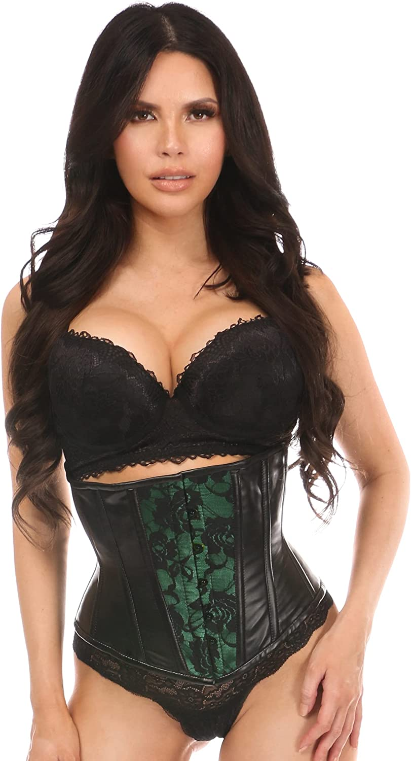 Daisy corsets Women's Wet Look Under Corset excellence Ranking TOP6 Bust Green Ov W Lace