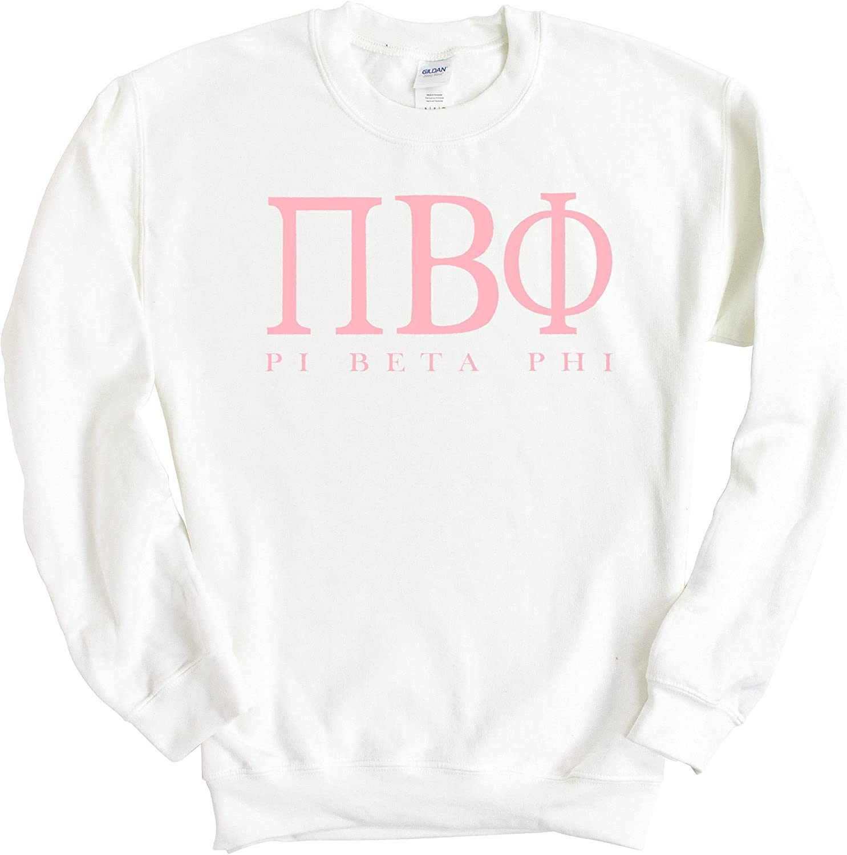 Pi Beta Phi (Pi Phi) Pink Letter Sorority Crewneck Sweatshirt