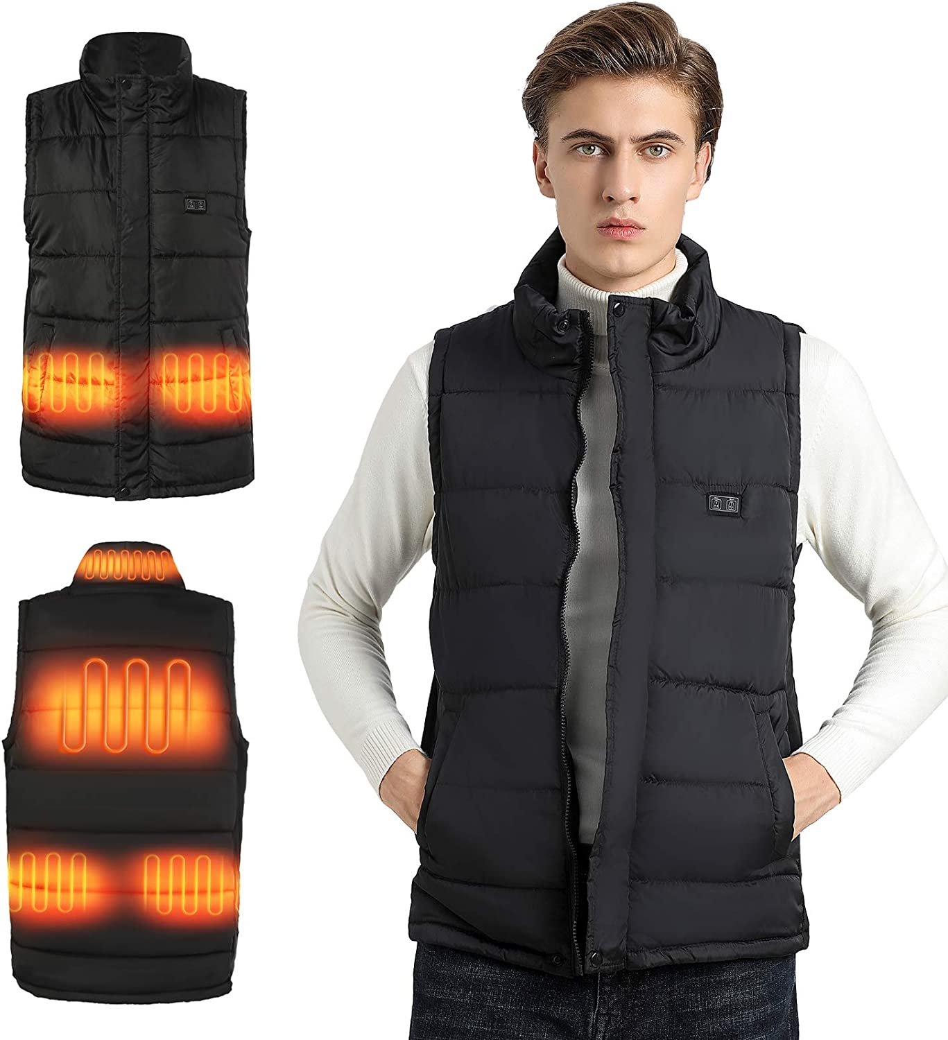 Men's/Women's Heated Vest without Battery Pack,Stand Collar Lightweight Zip Quilted Gilet,Black 2XL-3XL