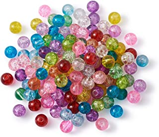Craftdady 500Pcs 8mm Random Mixed Colors Transparent Crystal Round Crackle Glass Beads Tiny Round Ball Loose Spacer Beads for Jewelry Making with 1mm Hole